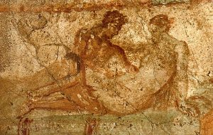 Erotic wall painting Pompeii