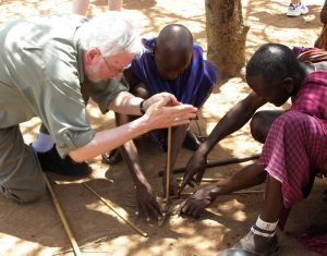 Masai in Kenya show Robert Scheer how to make fire