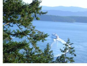 bc ferry seen from galiano island
