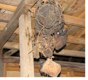 human heads hang from ceiling