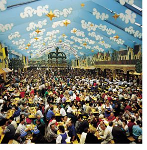Munich beer tent at Oktoberfest