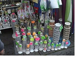 Souvenir stall near the Tower of Pisa