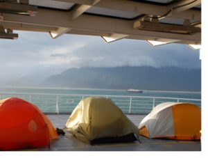 tents on alaska ferry deck